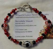 Buy evil eye red and black glass handmade bracelet sizing available