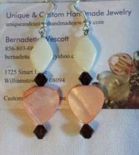 Buy white and coral mother of pearl,brown glass handmade earrings
