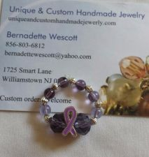 Buy purple ribbon awareness glass beaded stretch handmade ring