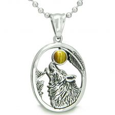 Buy Amulet Courage Howling Wolf Moon Charm in Sodalite and Simulated Black Onyx Pendant 2