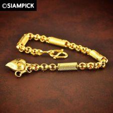Buy 24k Thai Baht Yellow Gold GP Barrel Chain Bracelet Bangle Charm Dangle Jewelry 8