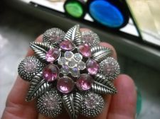 Buy Vintage Pink Rhinestone & AB rainbow gems Brooch Pin 1&1/2 inch Dome leaves