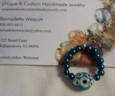 Buy evil eye teal blue glass handmade ring can be made in any size