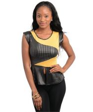 Buy Women Yellow & Black Casual Faux Leather with Slit front peplum waist accent.