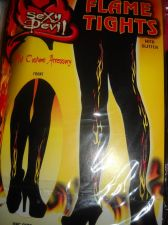 Buy Flame tights woman stockings Black with flames back front size med