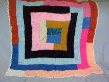 Buy Tunisian Stitch Hand Crocheted Spiral Patchwork Small Afghan