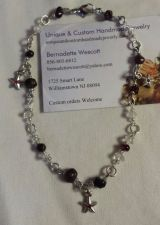 Buy star garnet and quartz silver plated handmade anklet sizing available