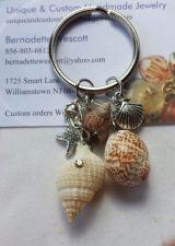Buy starfish and shell natural shells, glass beads, pewter charms handmade keyring