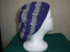 Buy Hand Crocheted Lacy Woman's Purple and Grey Ridged Slouch Hat