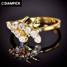Buy CZ 22k 24k Thai Baht Yellow Gold GP Wedding Engage Ring Size 5 6 7 Jewelry R008