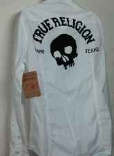 Buy NWT MEN'S TRUE RELIGION POPLIN WESTERN SNAP BUTTON WHITE L/S SHIRT SIZE LARGE