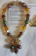 Buy green and brown pearls and crystals glass silver plated sizing available