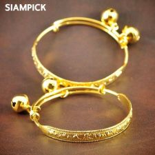 Buy Thai 23k 24k Baht Yellow Gold Plated GP Baby Hoop Anklet Bangle Jewelry New A003