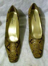 "Buy EUC Women's Newport News Sz. 11M, Tan Faux Snake Skin Pumps Shoes 3 1/2"" heels"