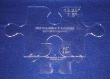 "Buy Templates- 2 Piece Set Puzzle Pieces - ~1/4"" Clear Acrylic -"