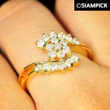 Buy CZ Round 22k 24k Wedding Ring Size 6 7 8 Thai Baht Yellow Gold GP Jewelry R021