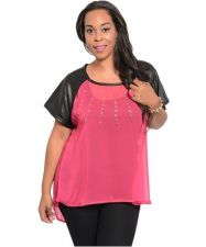 Buy PLUS SIZE FUCHSIA WITH GOLD STUDS CHIFFON TOP, HI-LOW TOP,CASUAL, TOP, 1X