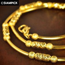 "Buy 17"" Barrel Beads Chain 22k 24k Necklace Thai Baht Yellow Gold GP Jewelry GF N078"
