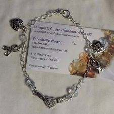 Buy lung cancer awareness handmade anklet, custom sizing available