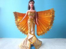 Buy THAI CABATET YELLOW BARBIE CLOTHES GROWN DRESS FASHION FOR BARBIE DOLLS HANDMADE