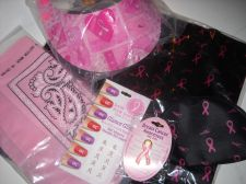 Buy Cancer awareness Pink Ribbon Tote sun visor bandanna tac pin nail gems lot