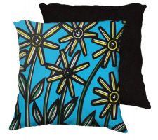 Buy Hongo 18X18 Yellow Blue Flowers Floral Botanical Black Back Cushion Case Throw Pillow