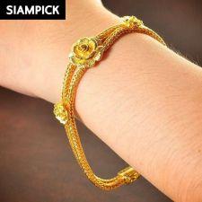 Buy Thai Baht Yellow Gold Plated Bracelet 22k 24k GP Chain Bangle Charm Jewelry B116