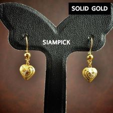 Buy 18k Thai Solid Gold Earrings 75% Pure Yellow Dangle Hoop Large Jewelry New SG004