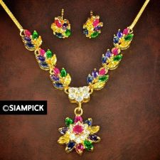 Buy Multi Color CZ Gems 24k Thai Baht Yellow Gold GP Necklace Earrings Jewelry Set 5