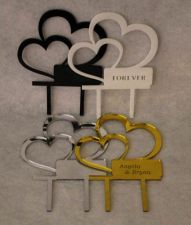 "Buy Double Heart Cake Topper - 1/8"" Acrylic - Engagement- Wedding- Free Engraving"