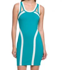 Buy WOW COUTURE SEXY AQUA DRESS WITH WHITE STRIPE BANDAGE BODYCON DRESS S,M,L