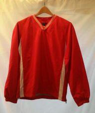 Buy EUC men's, sz.S, Sport Tek red/white long sleeve, pullover windbreaker, jacket