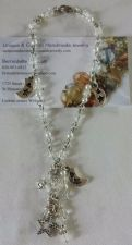 Buy star and moon clear glass and crystal handmade anklet