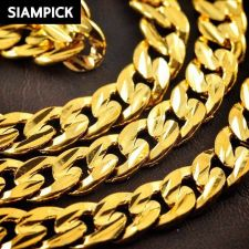 """Buy 24"""" Thai Baht 22k 24k Yellow Gold Plated Curb Chain Link Necklace Jewelry N026"""