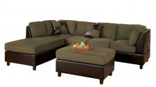 Buy Bobkona Hungtinton Microfiber/Faux Leather 3-Piece Sectional Sofa Set, Sage