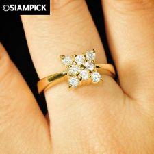 Buy CZ Round Shape 24k Thai Baht Yellow Gold GP Wedding Ring Size 6 8 Jewelry R014