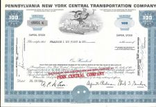 Buy Pennsylvania New York Central Transportation Company Stock Certificate Canceled
