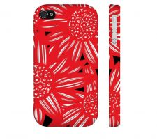 Buy Shively Red White Black Iphone 4/4S Apple Phone Case Flowers Botanical
