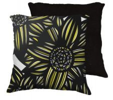 Buy 22x22 Cortis Yellow Black Pillow Flowers Floral Botanical Cover Cushion Case Throw Pi