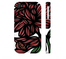 Buy Galabeas Red Black Iphone 4/4S Apple Phone Case Flowers Botanical