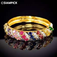 Buy Multi Colors CZ Gems 24k Bangle Bracelet Thai Baht Yellow Gold GP Jewelry GF #67