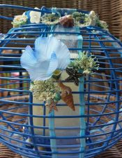 Buy starfish shell anchor lantern/centerpiece, blue handmade candle included