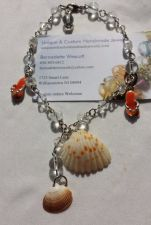 Buy flip flop and shells silver plated handmade anklet sizing available