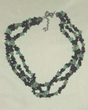 Buy Vintage 1970's Genuine Turquoise and Black Onyx TriBand Necklace