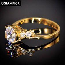 Buy CZ 22k 24k Wedding Thai Baht Yellow Gold GP Engage Ring Size 6 7 Jewelry GF R007