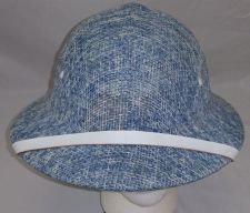 Buy VINTAGE 1980's BROOKSTONE SAFARI HAT STRAW PITH HELMET BLUE / WHITE CLEAN