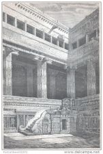 Buy INDIA - CHILLAMBARAN TEMPLE, COURTYARD CORNER WITH STAIRS - engraving from 1867