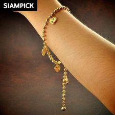 Buy Thai Baht 22k 24k Yellow Gold Plated GP Bead Chain Bracelet Bangle Jewelry B107