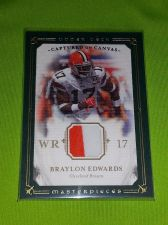Buy NFL BRAYLON EDWARDS 2008 UD MASTERPEICES 2 COLOR GAME WORN JERSEY RELIC GD/VG