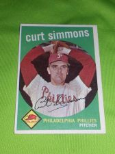 Buy VINTAGE CURT SIMMONS PHILLIES 1959 Topps #382 GD/VG